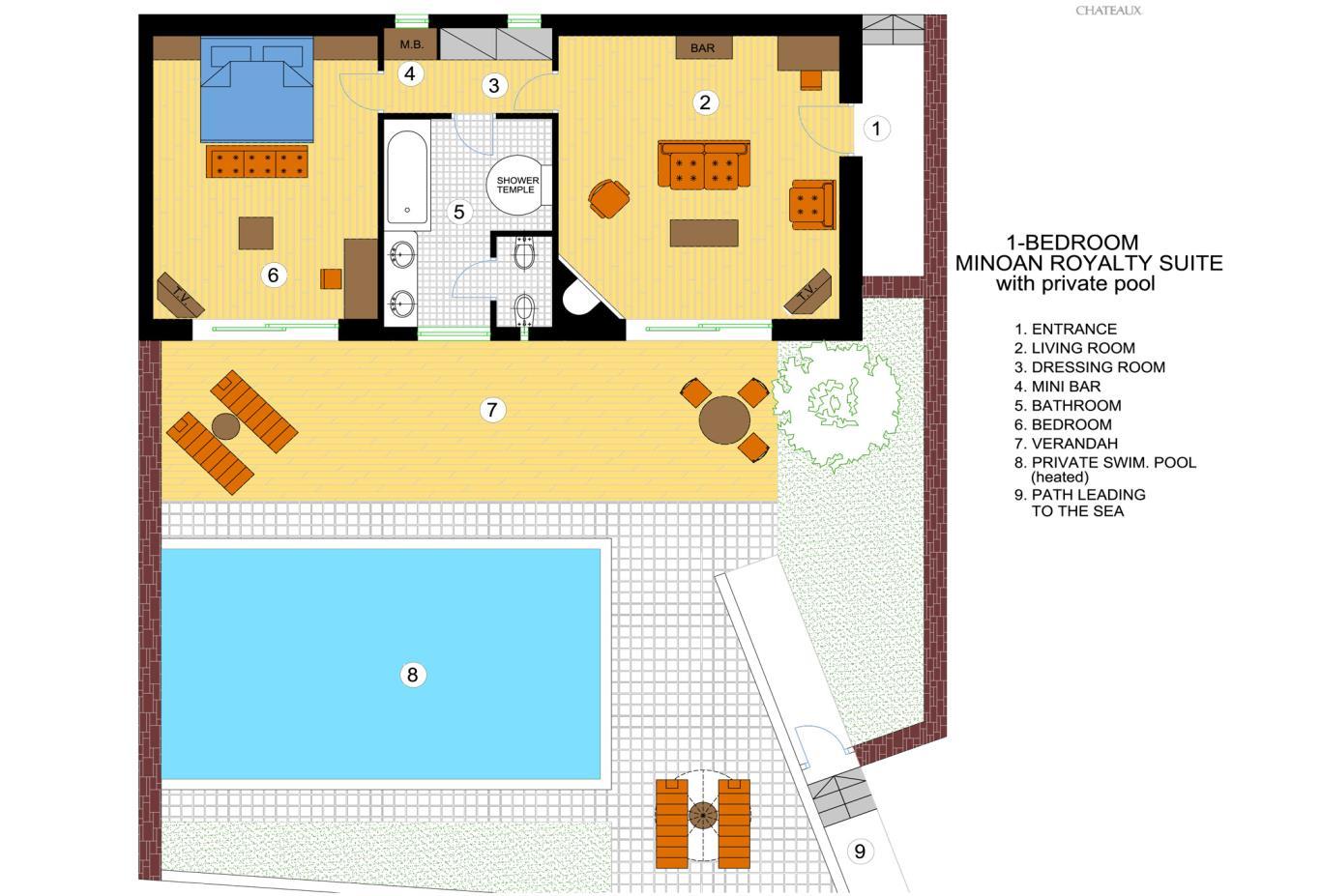 One Bedroom Royalty Suite floorplan