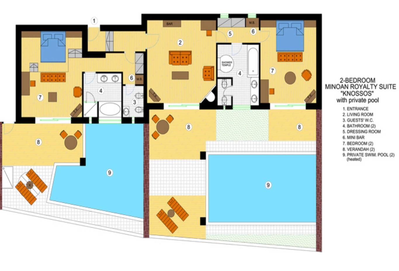 Two Bedroom Knossos Royalty Suite floorplan