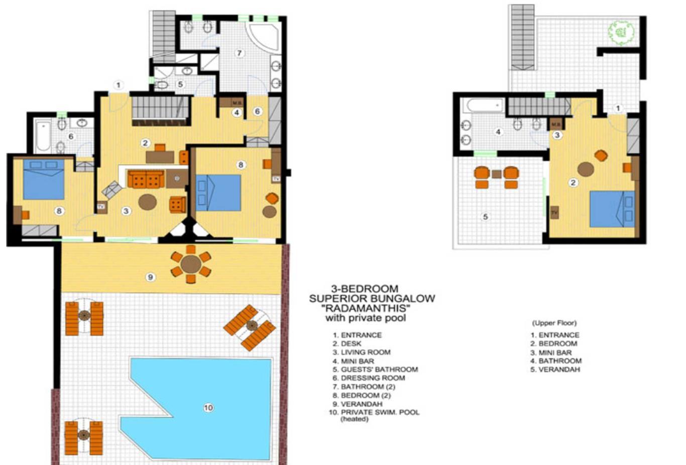 Three Bedroom Superior Bungalow with Private Pool floorplan