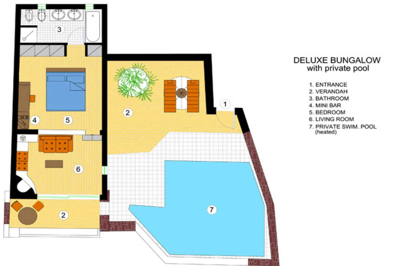 Deluxe Bungalow with Private Pool floorplan