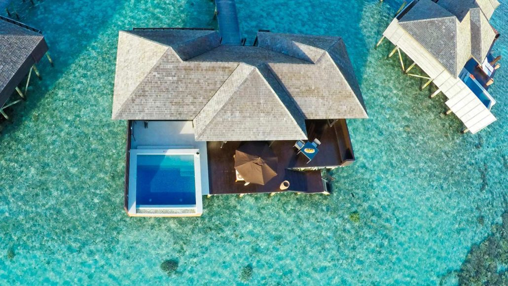 Sunset Water villa aerial