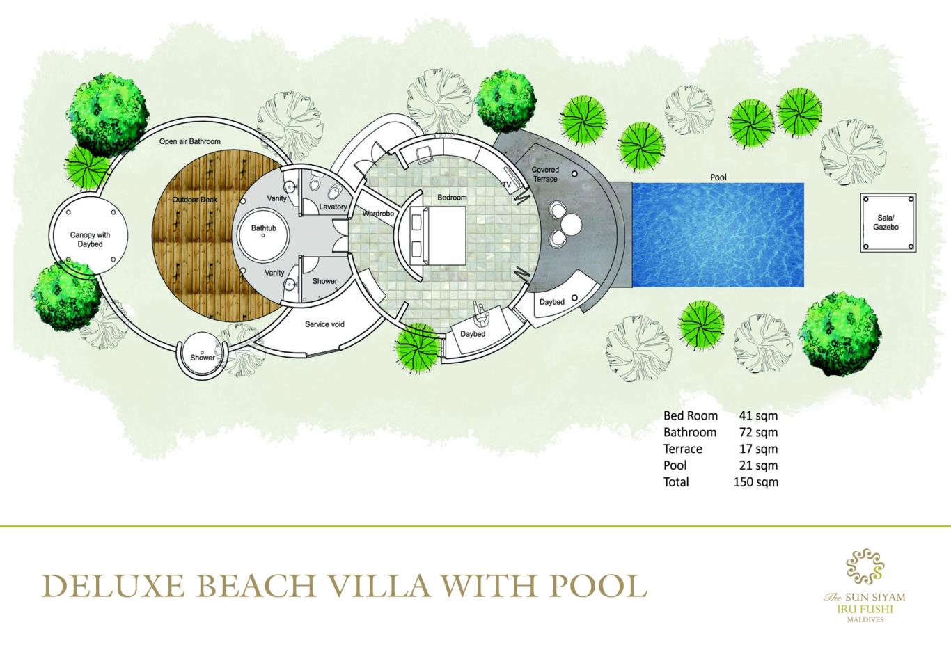 Deluxe Beach Villa With Pool Floorplan