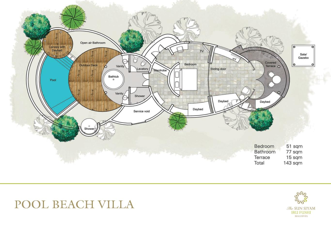Pool Beach Villa Floorplan