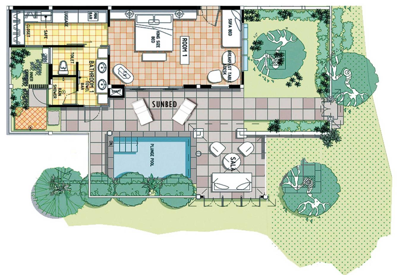 Floorplan Private Garden Pool Villa