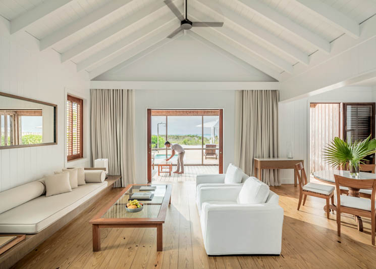 COMO Parrot Cay One Bedroom Beach House Living Room