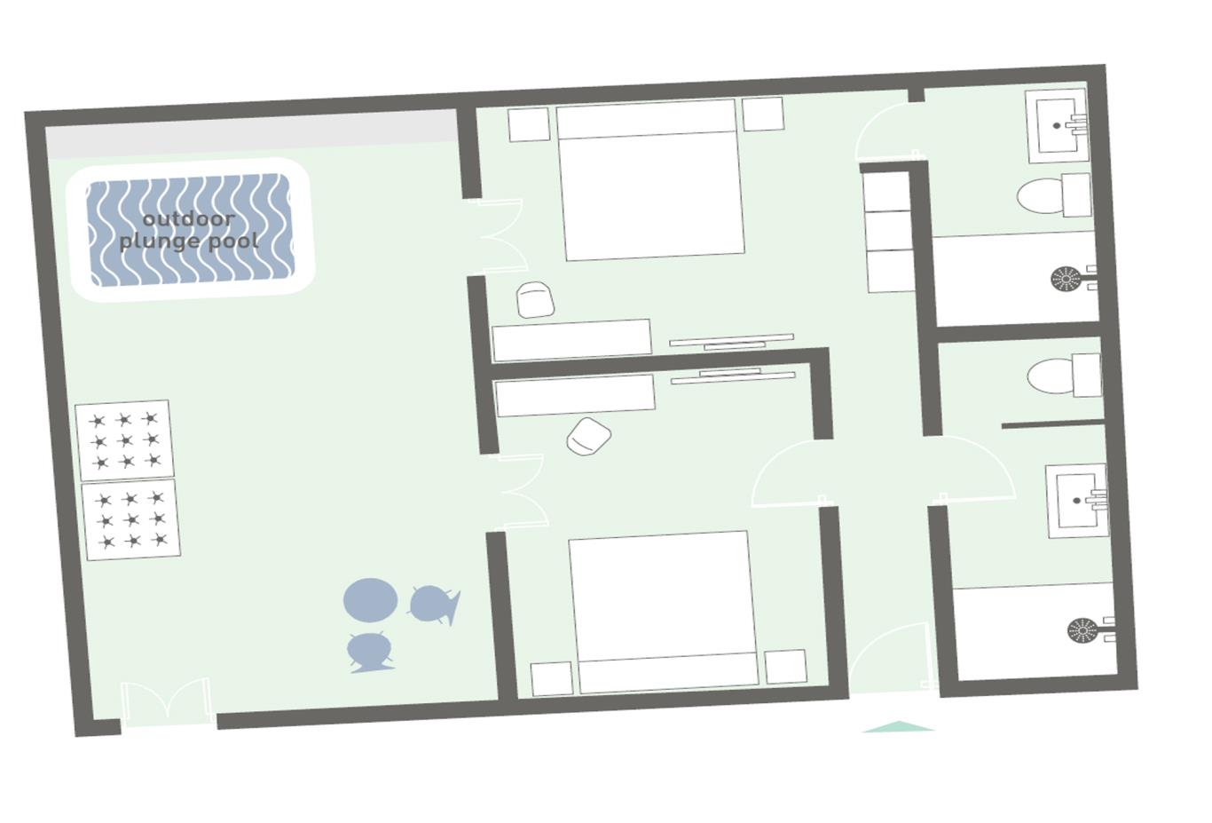 Family-suite-with-plunge-poolfloorplan example