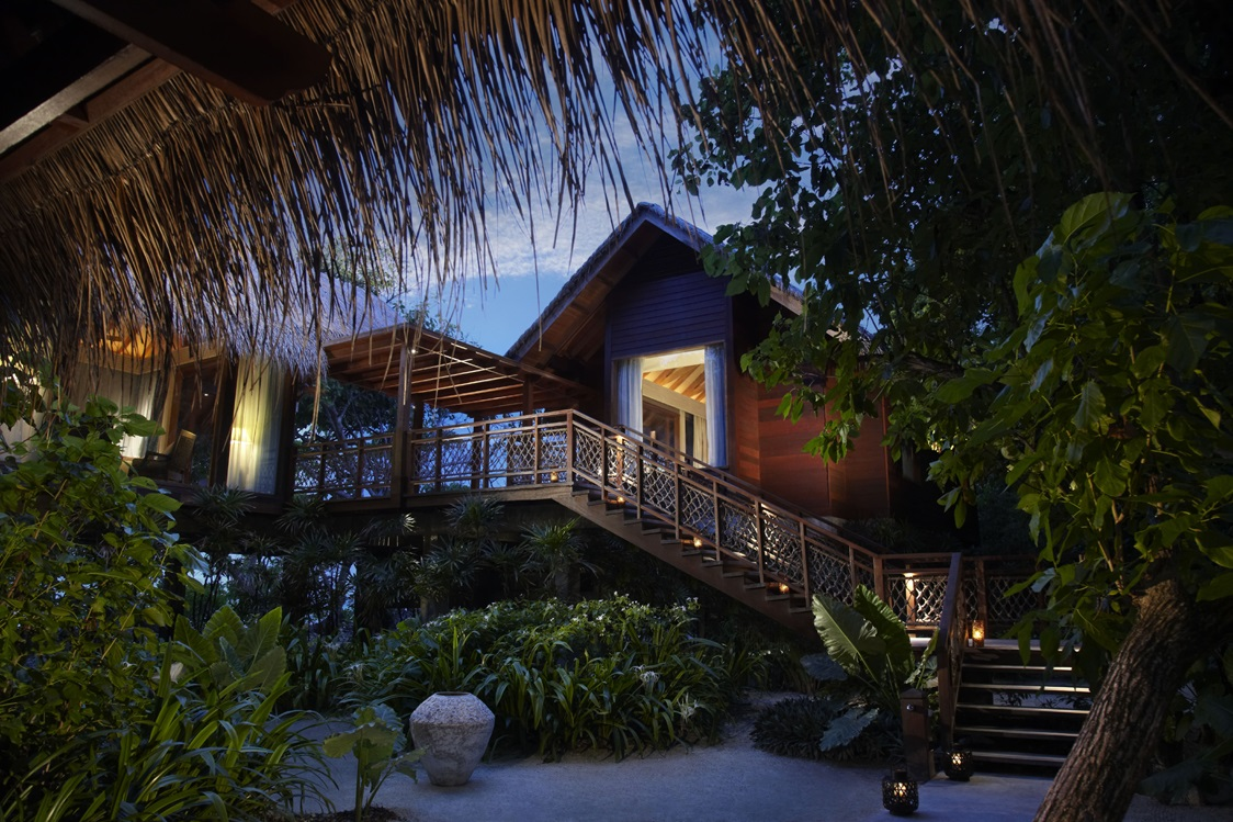 Tree House Villa entrance at dusk