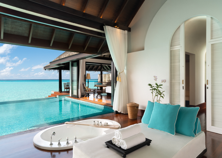 Over Water Villa Bathroom with Pool View