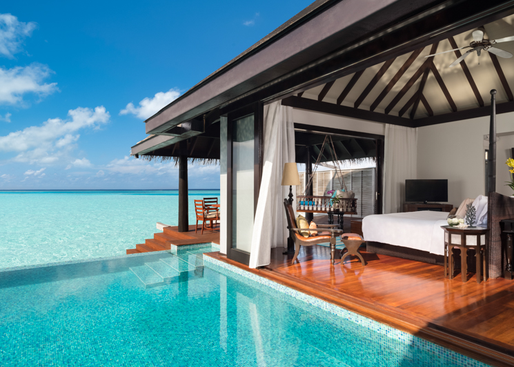 Over Water Villa Bedroom and Pool