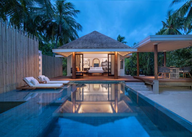 One bedroom beach pool villa exterior twilight