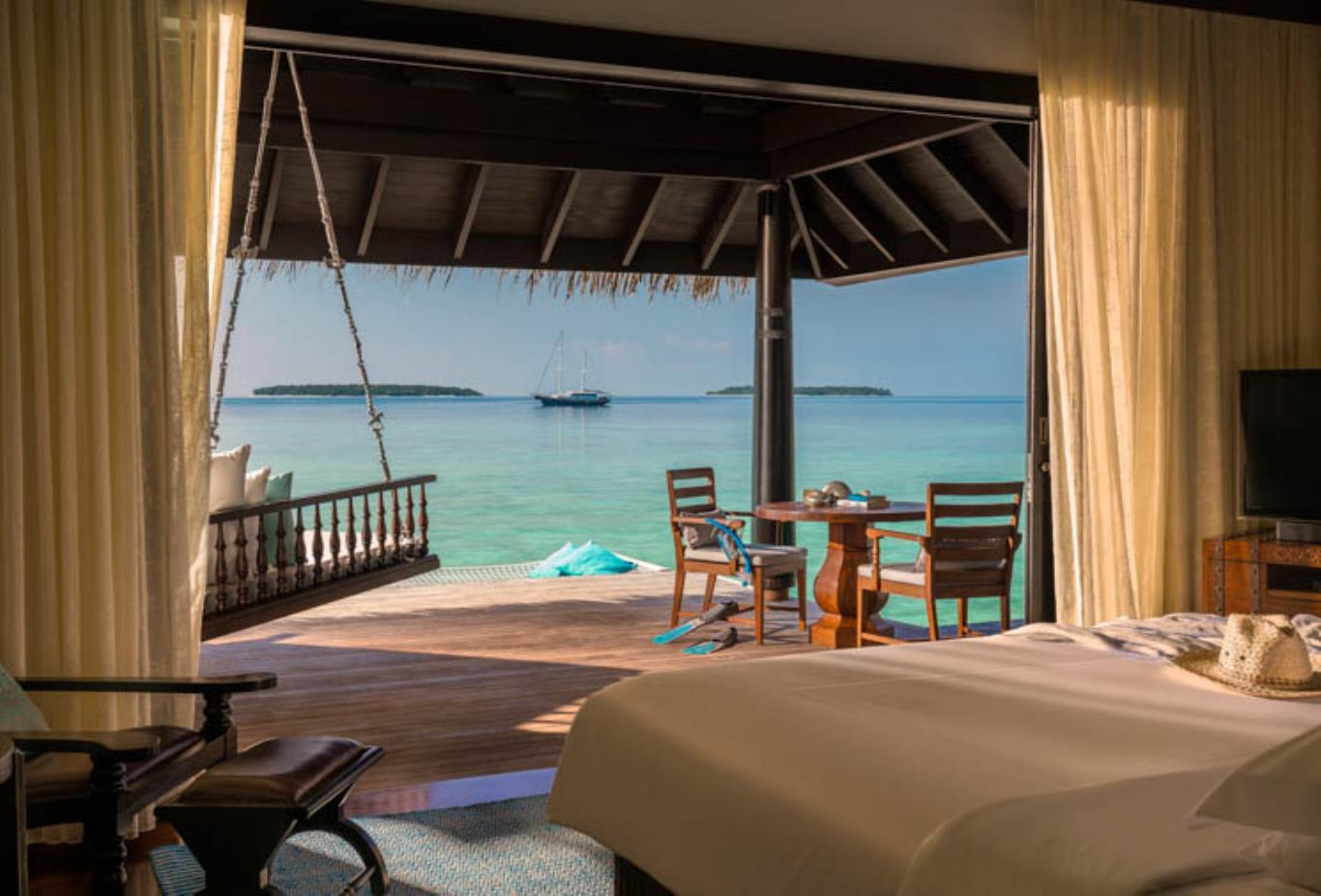 Overwater Villa bedroom and sea views