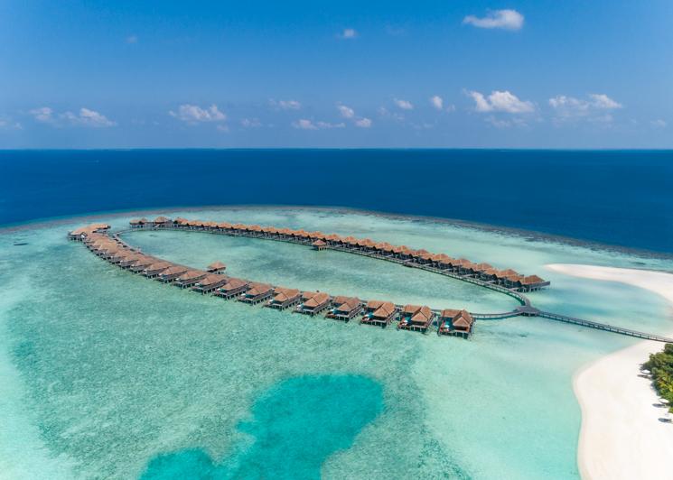 Over Water Villas Beach Aerial