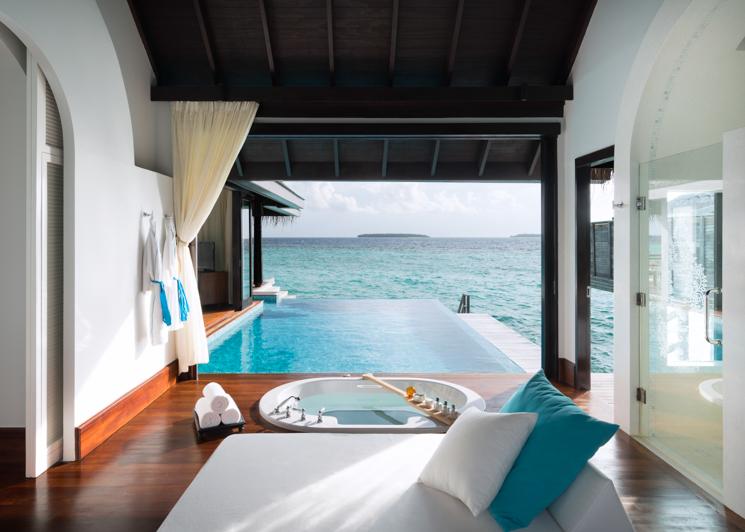 Over Water Pool Villa Bathroom Pool and Ocean View