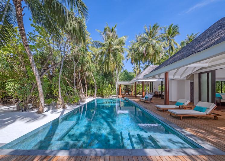 Two bedroom family beach pool villa deck