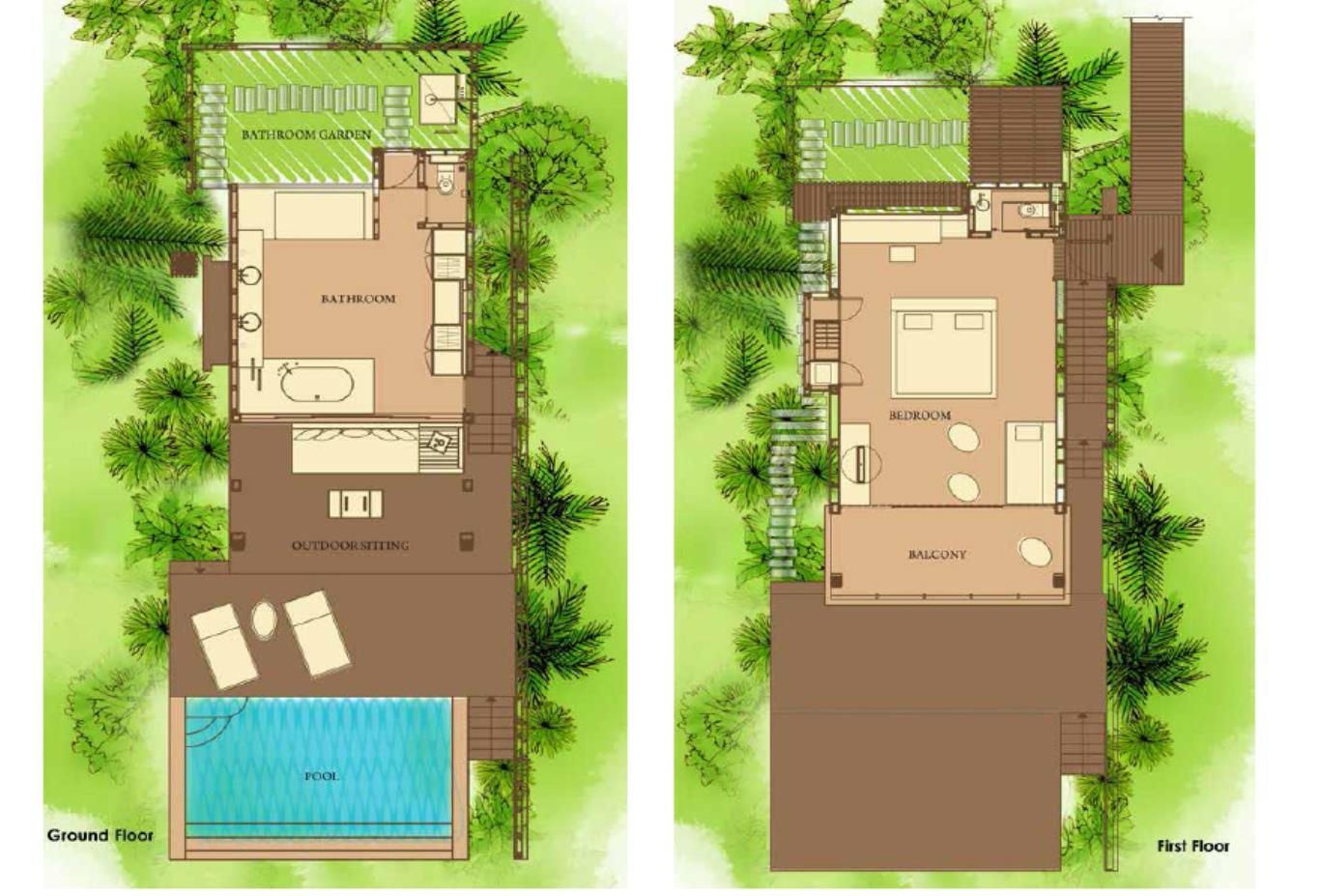 Floorplan Ocean Duplex Pool Villa