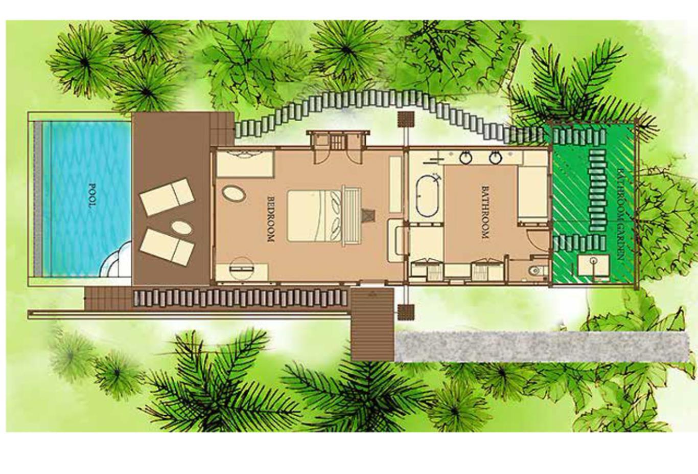 Floorplan Ocean Front Deluxe Pool Villa