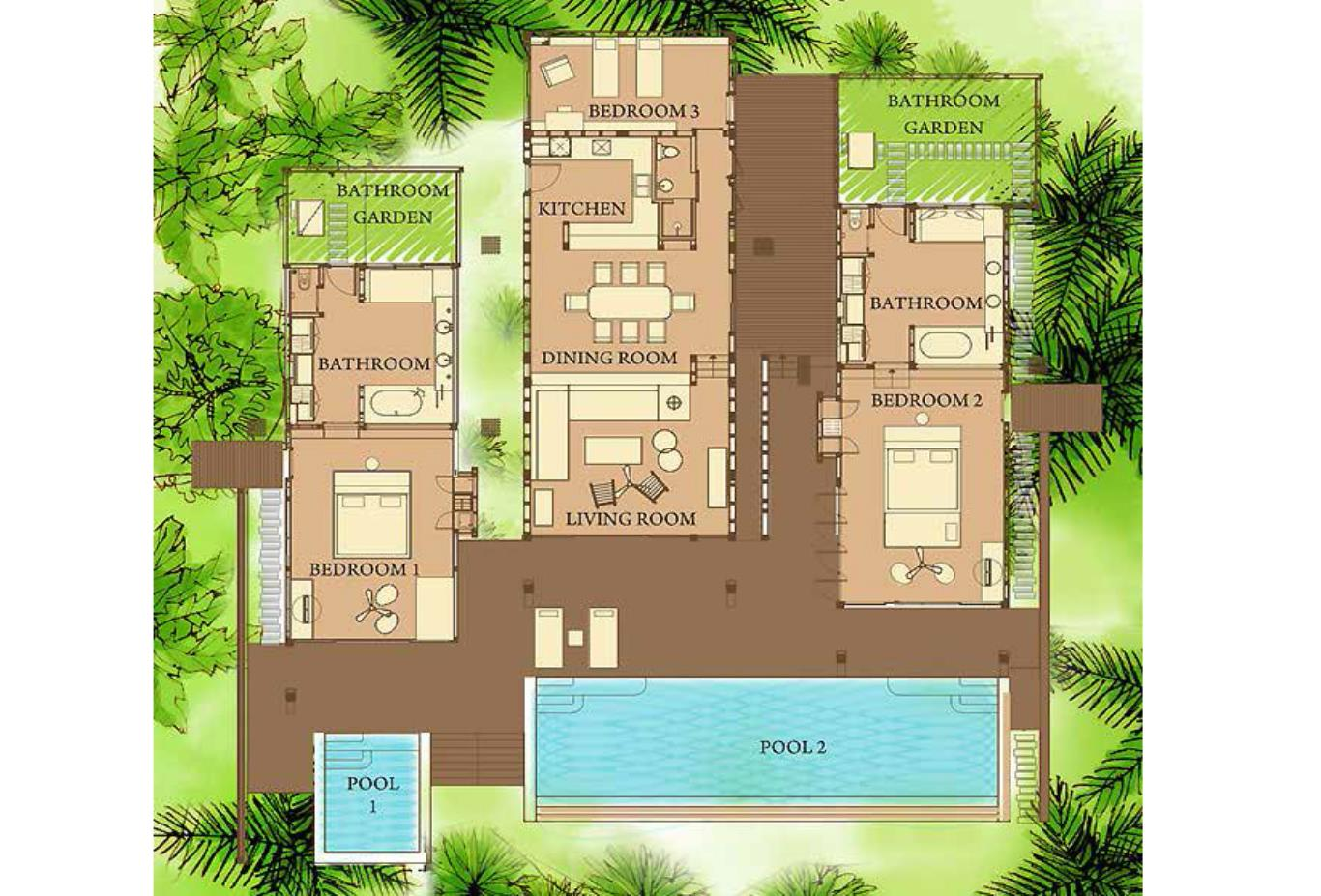 Floorplan Ocean Front 2 and 3 Bedroom Pool Villa