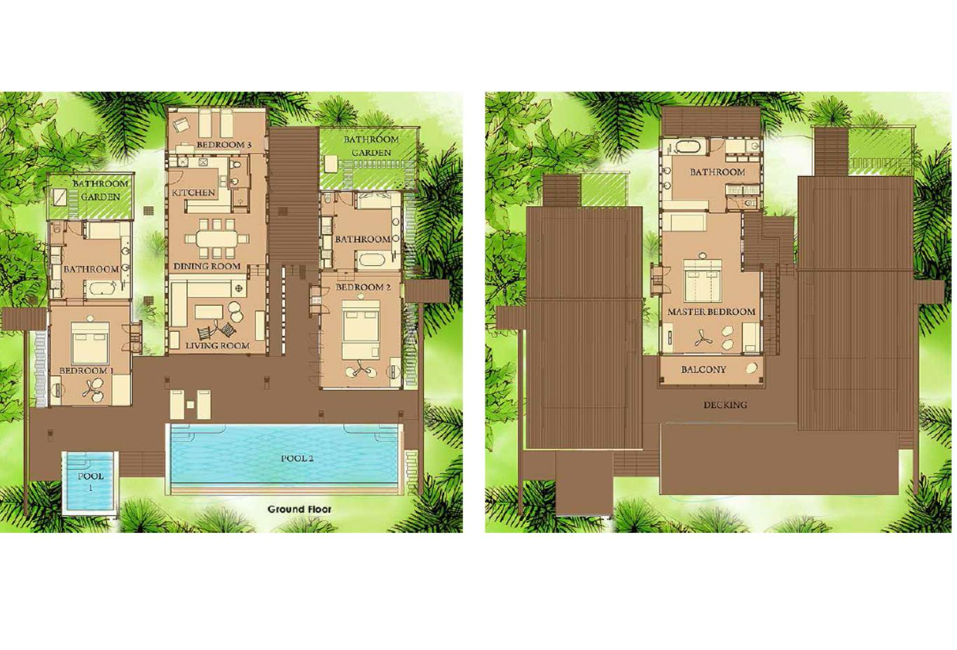 Floorplan Ocean Front 4 Bedroom Pool Villa
