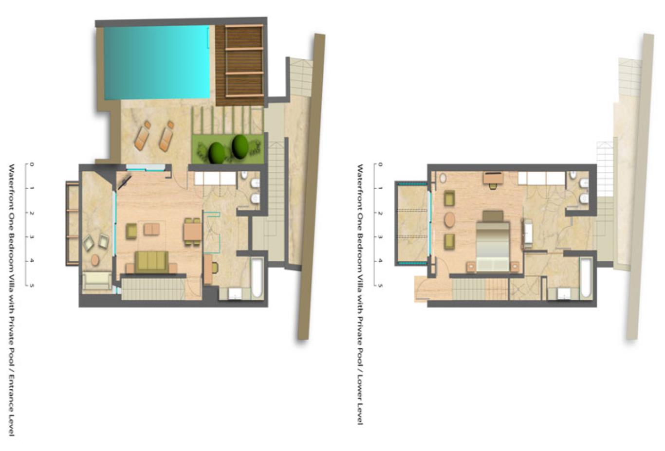 floorplan one bed villa with private pool
