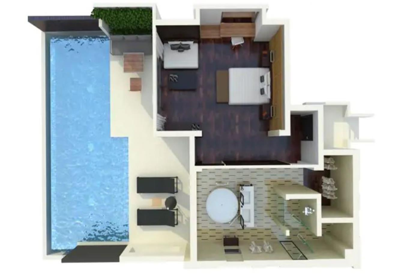 Floorplan One Bed King Ocean View Pool Villa