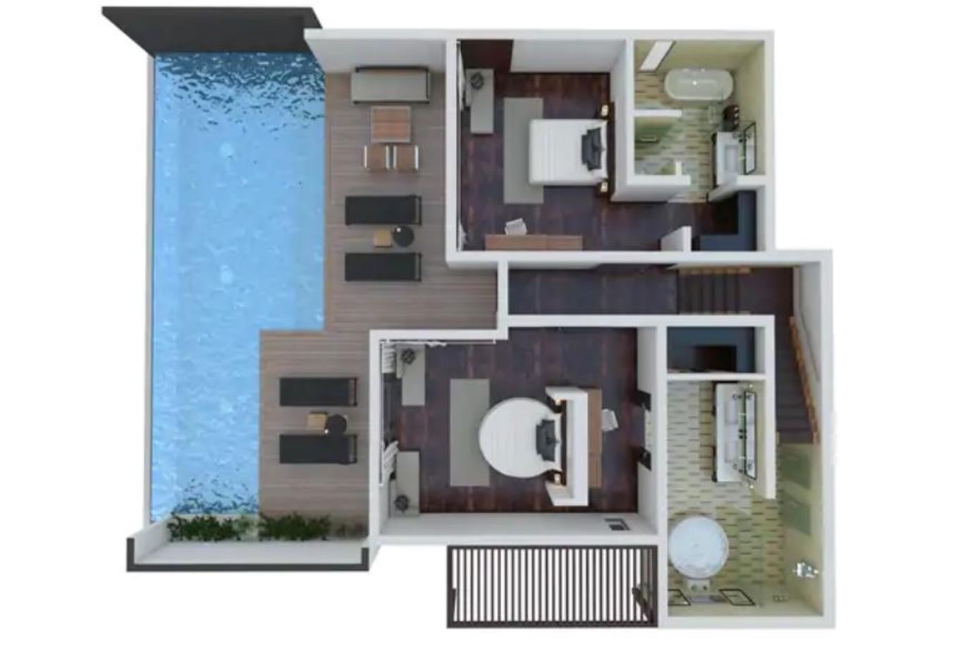 Floorplan Two Bed King Ocean View Pool Villa