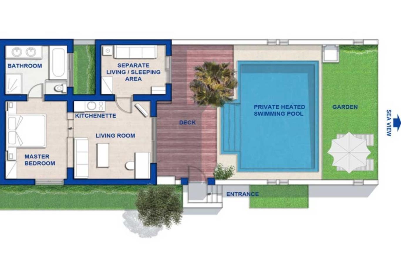 Floorplan Deluxe spa villa