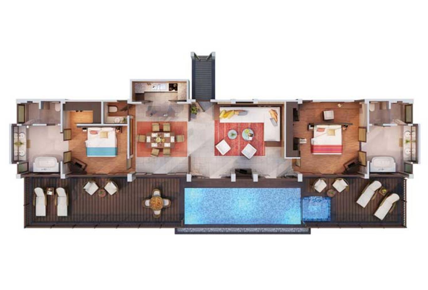 Floorplan-2-bedHillside-Pool-Villa