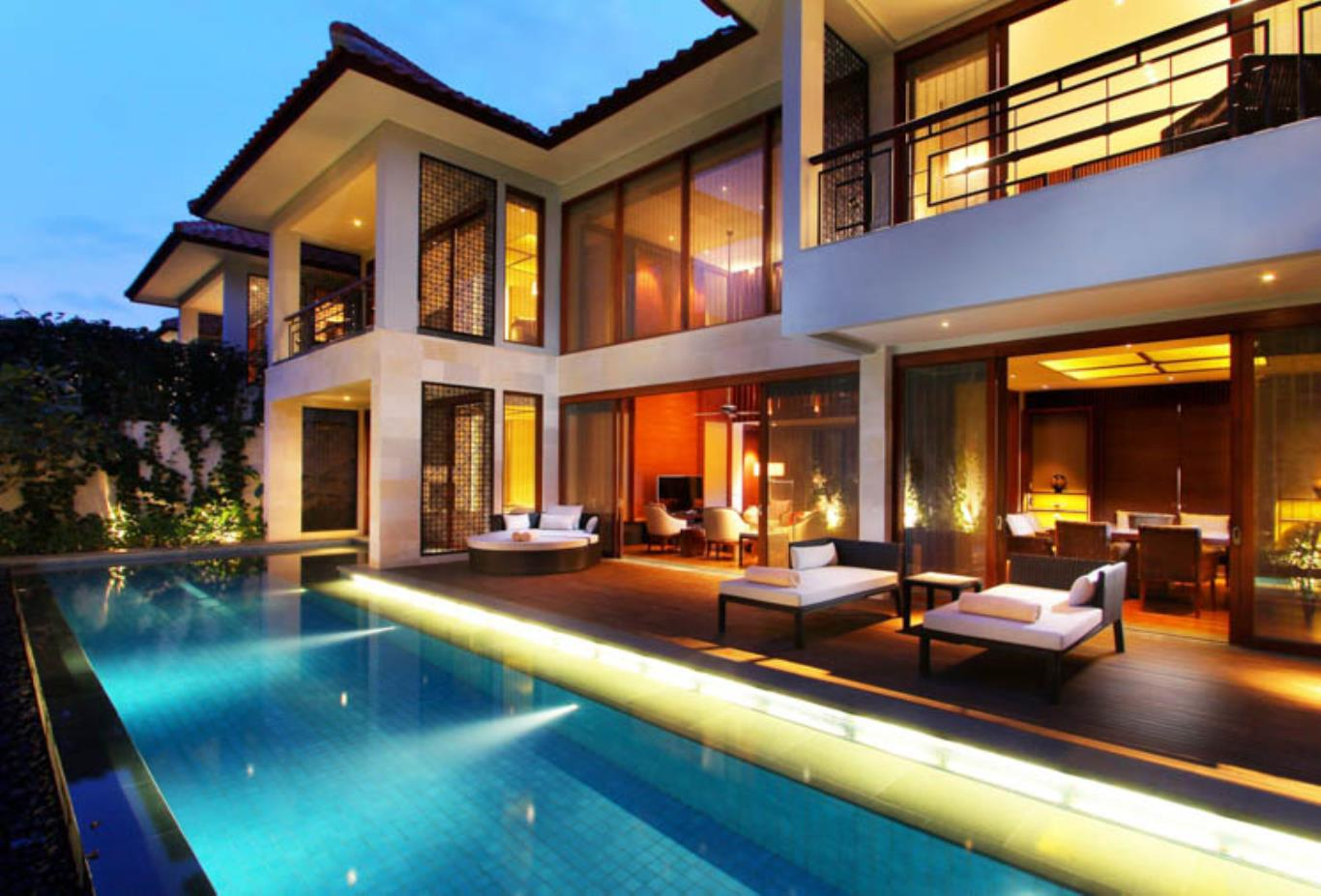 Three Bedroom Villa pool at night