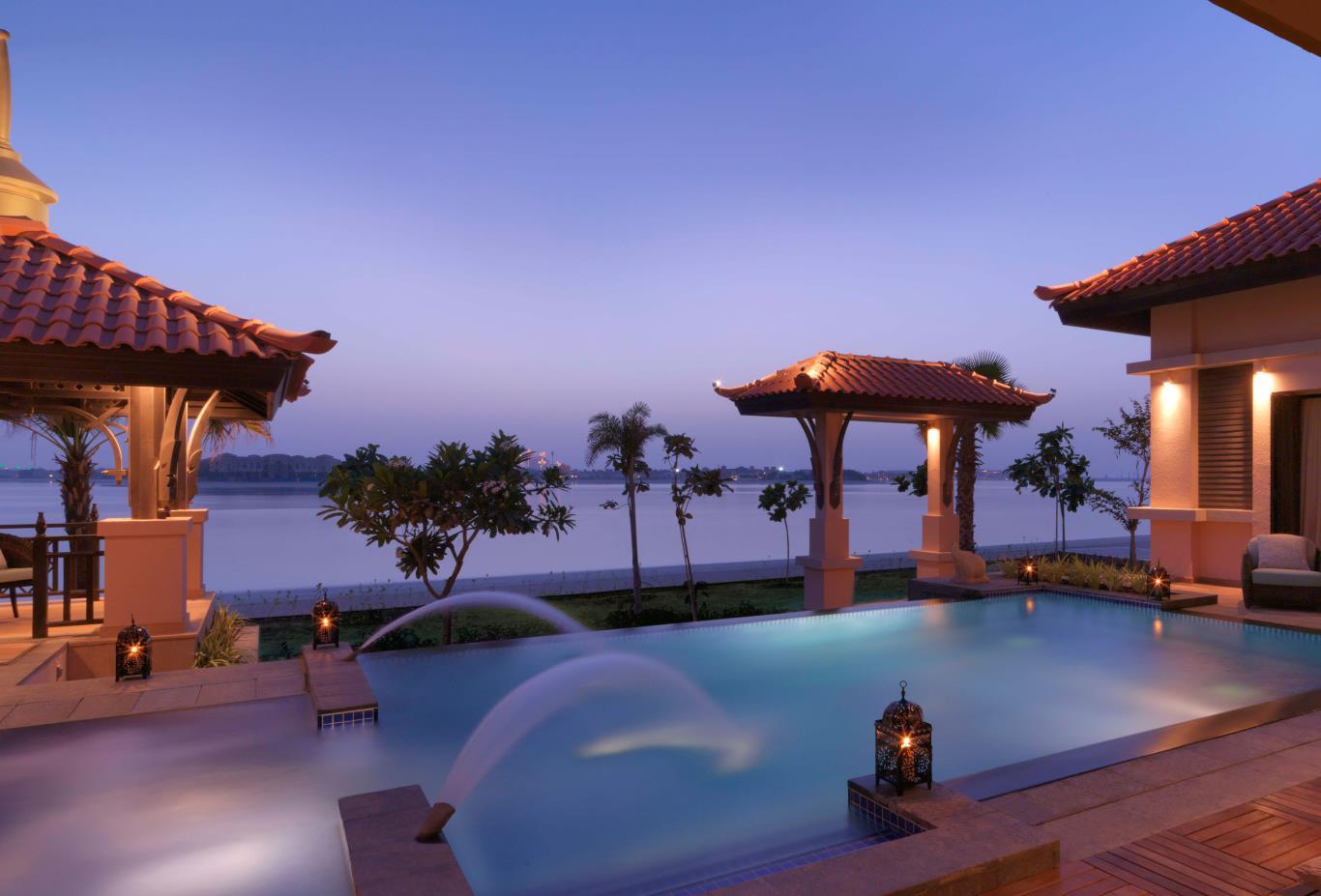 Two Bed Beach Villa Pool Night