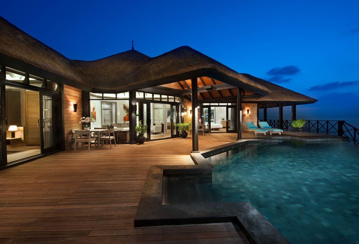Grand Water Two Bedroom Suites With Private Infinity Pool Deck Evening