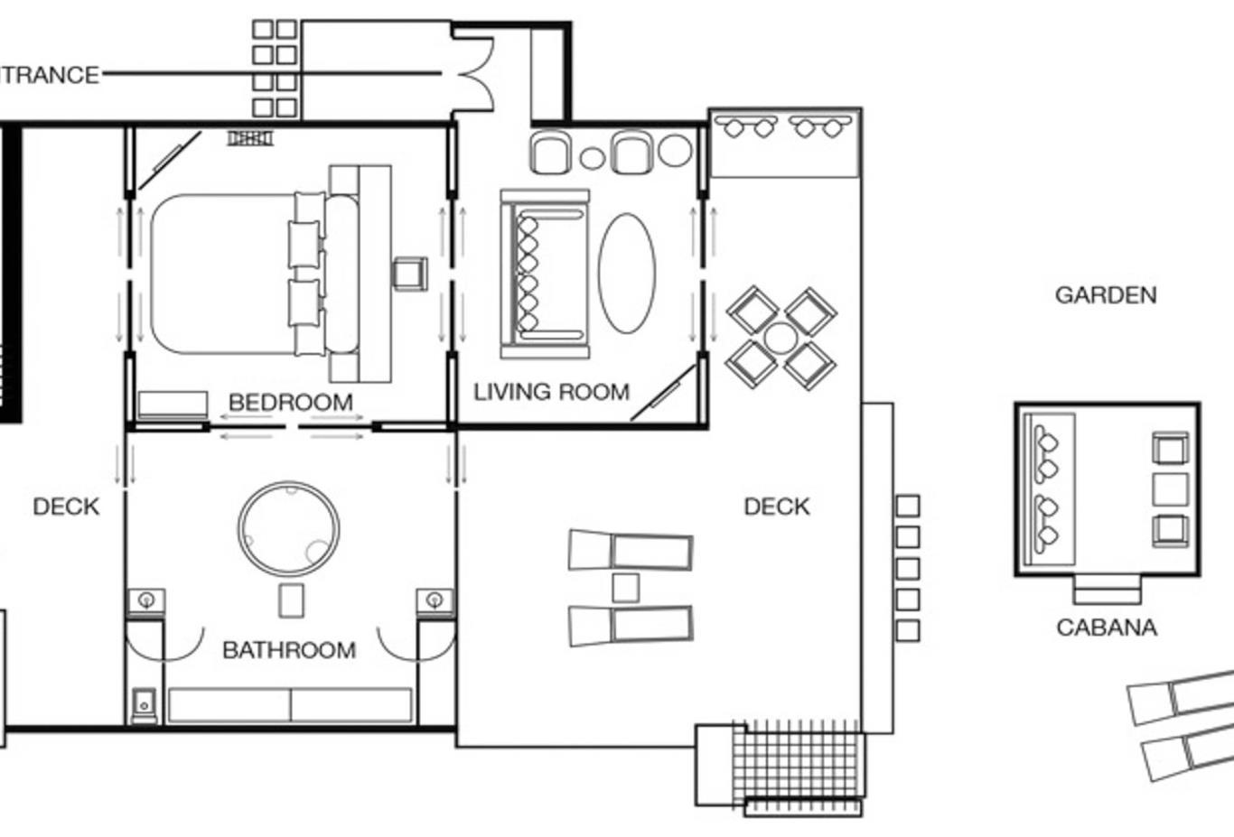 One Bedroom Beach Suite Floorplan