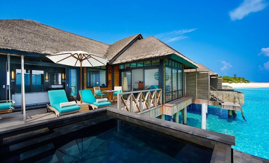 Sunset Water Villa with infinity pool exterior