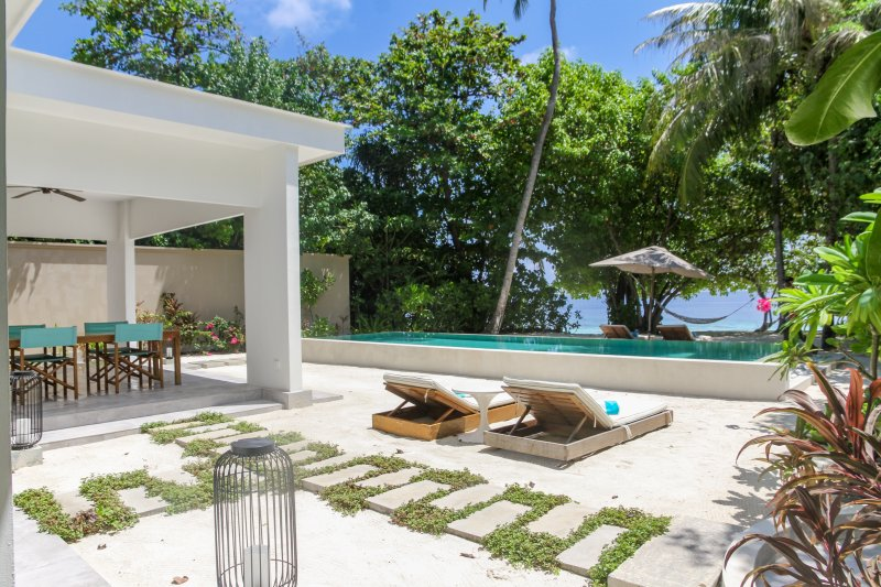Two bed beach pool villa garden and pool