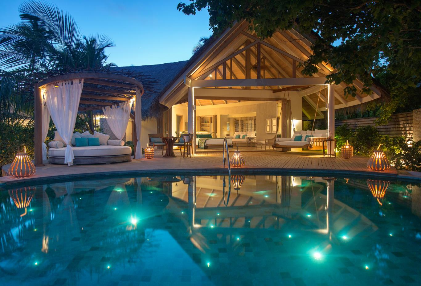 Beach pool villa night pool