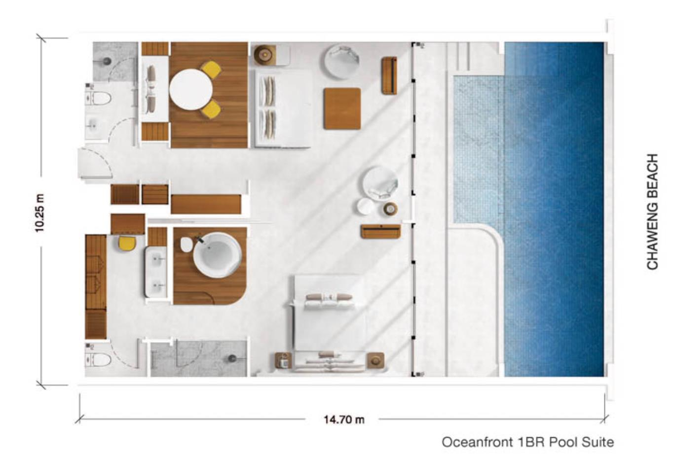 Oceanfront 1BR Pool Suite floorplan