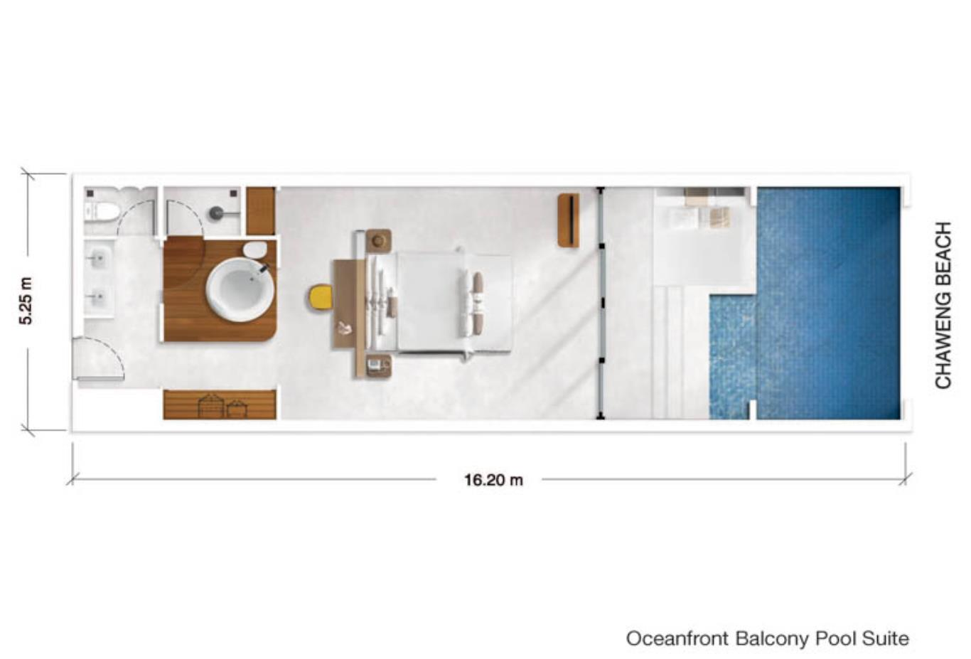 Oceanfront Balcony Pool Suite floorplan