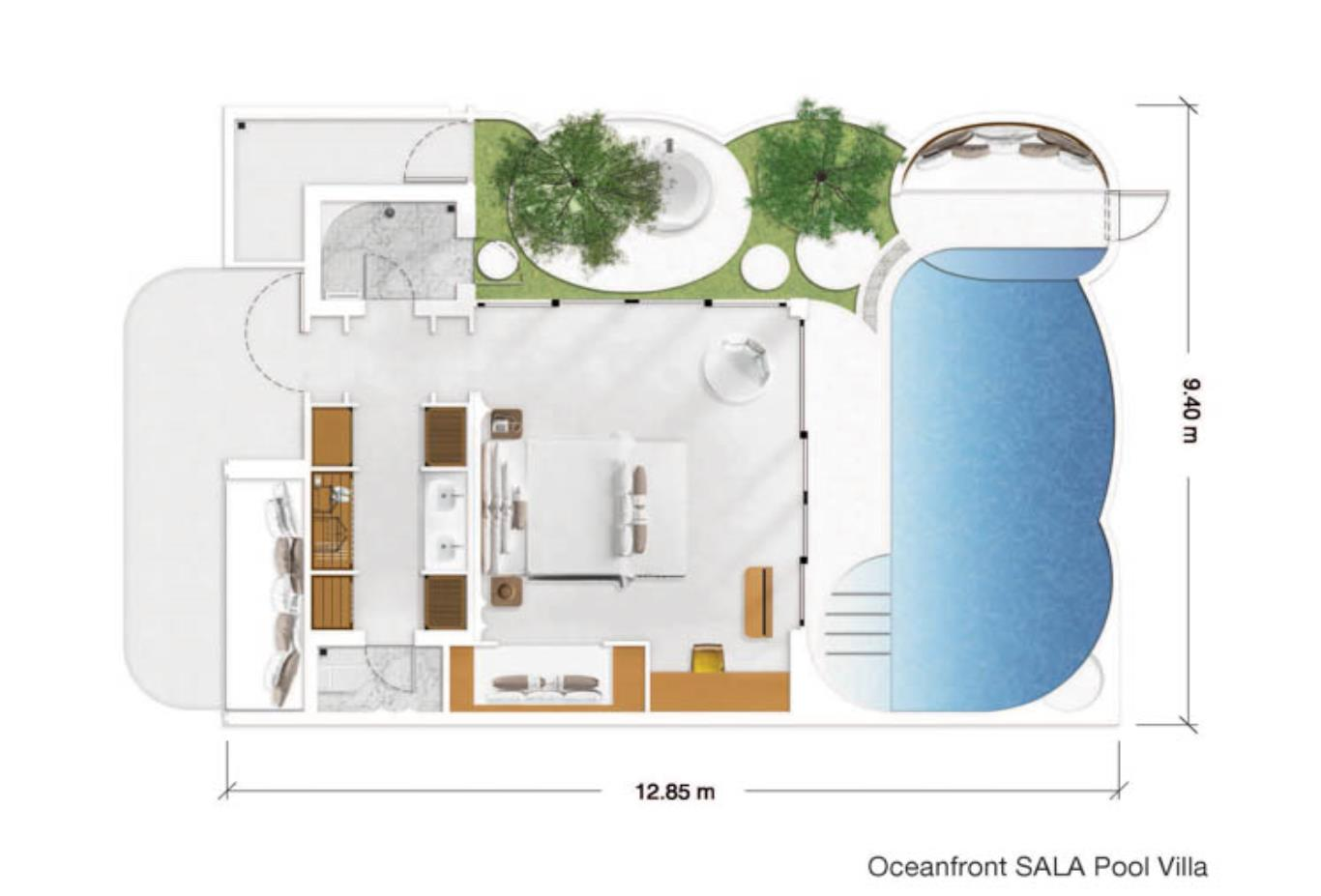 Oceanfront SALA Pool VIlla floorplan