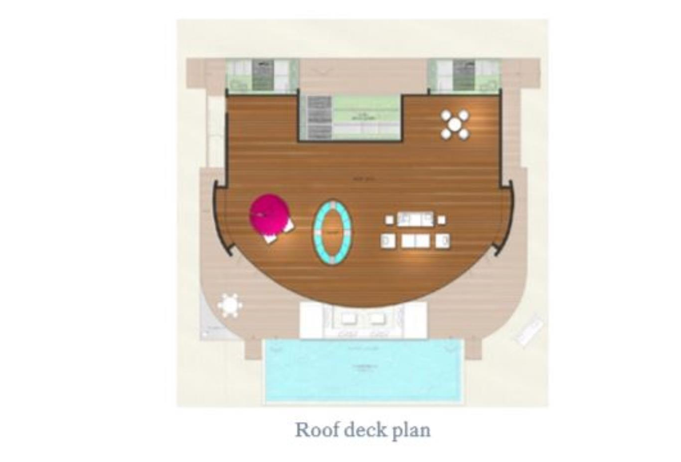 Floorplan Beach Residence and Overwater Residence deck