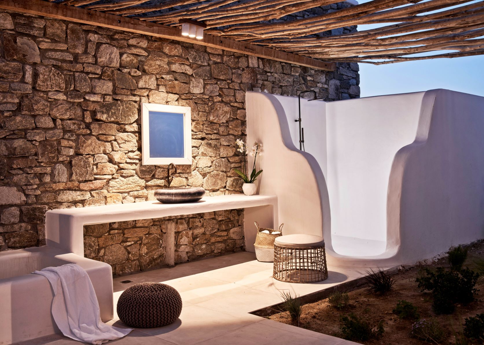 Three bedroom villa bathroom at night