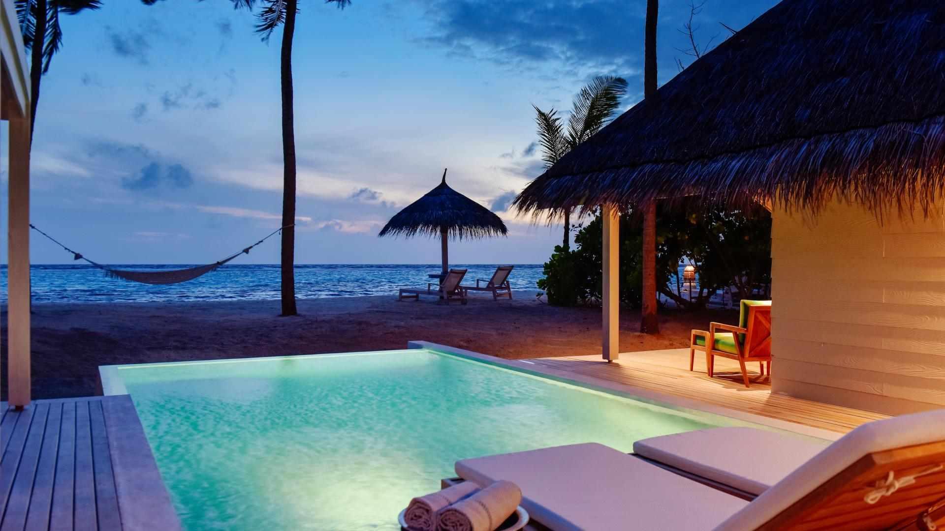 Retreat Beach Pool Villa sunset