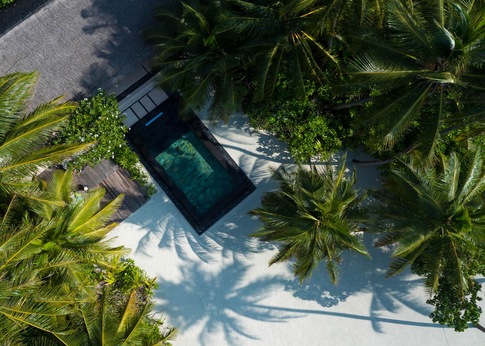 Beach Villa with Pool aerial
