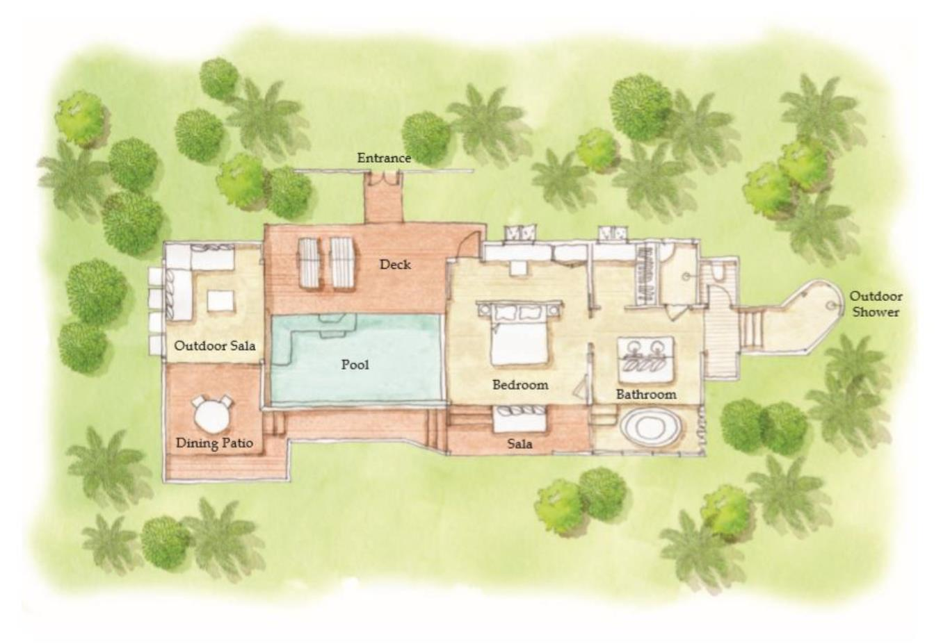 Floorplan Beachfront Pool Villa