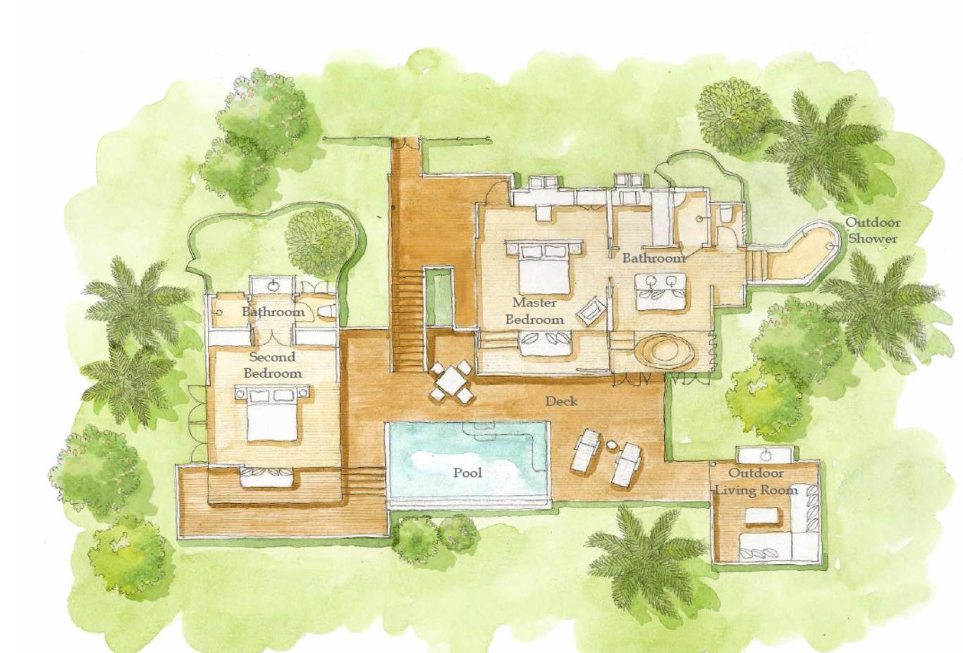 Hideaway Two Bedroom Pool Villa floorplan