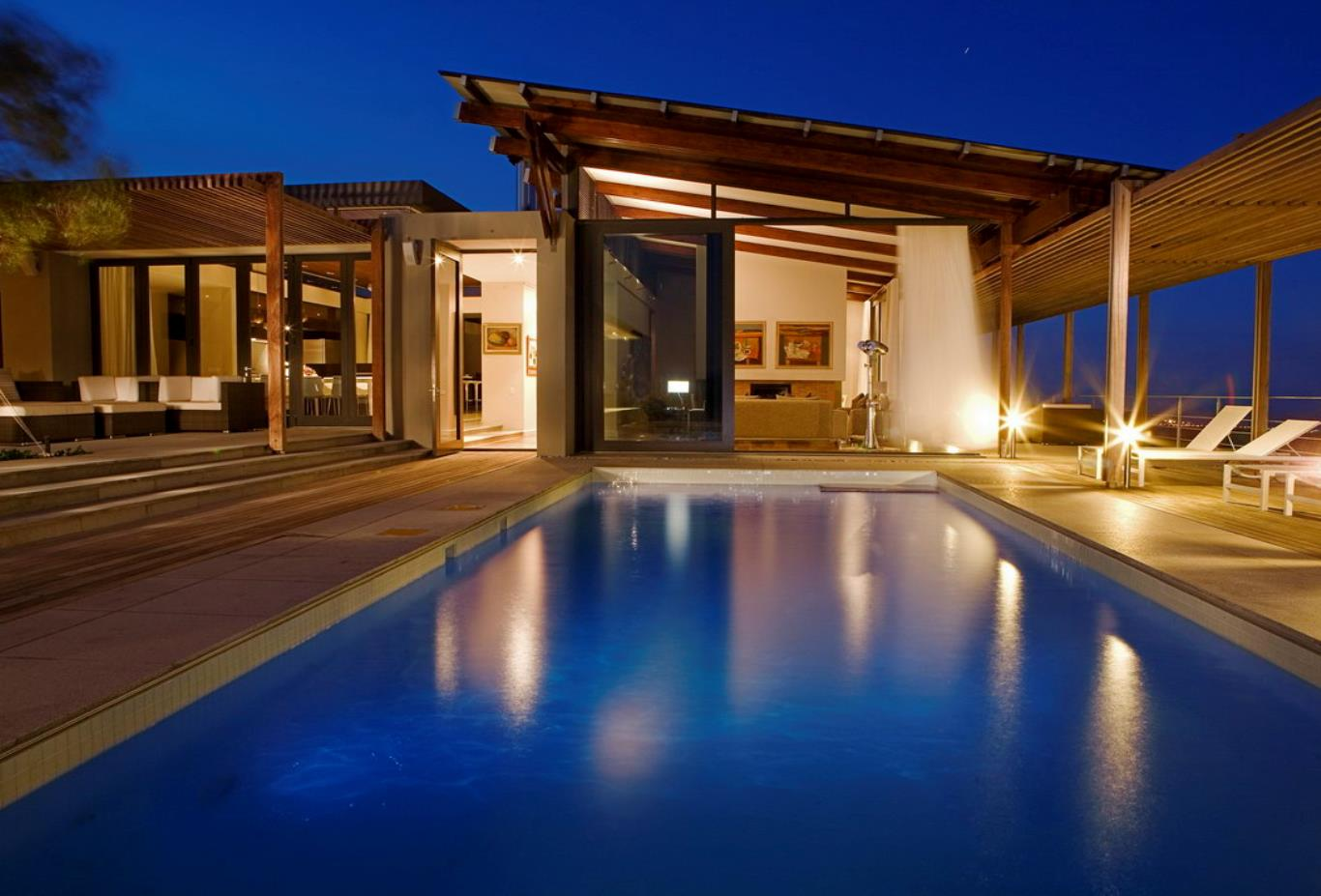 The Villa Pool at night