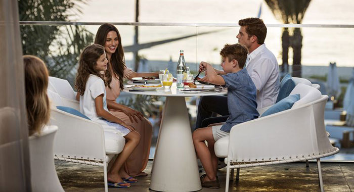 A family dining out
