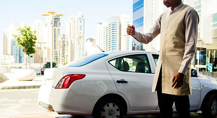 Car valet outside Dubai hotel