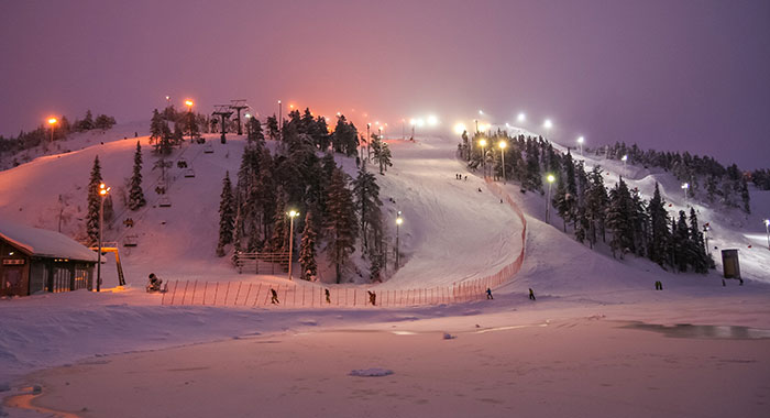 Ski run at night