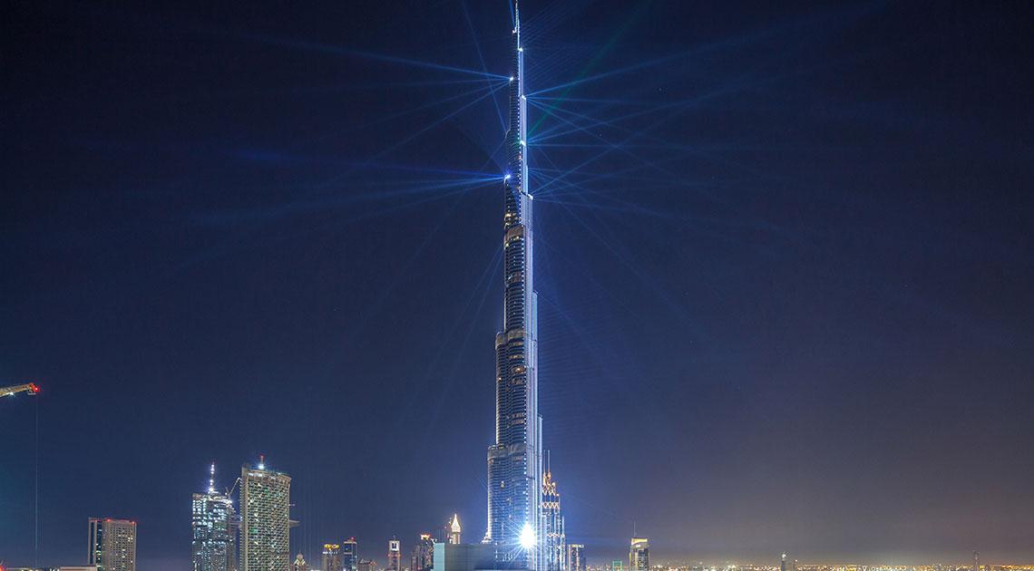 Burj Khalifa lit up at night