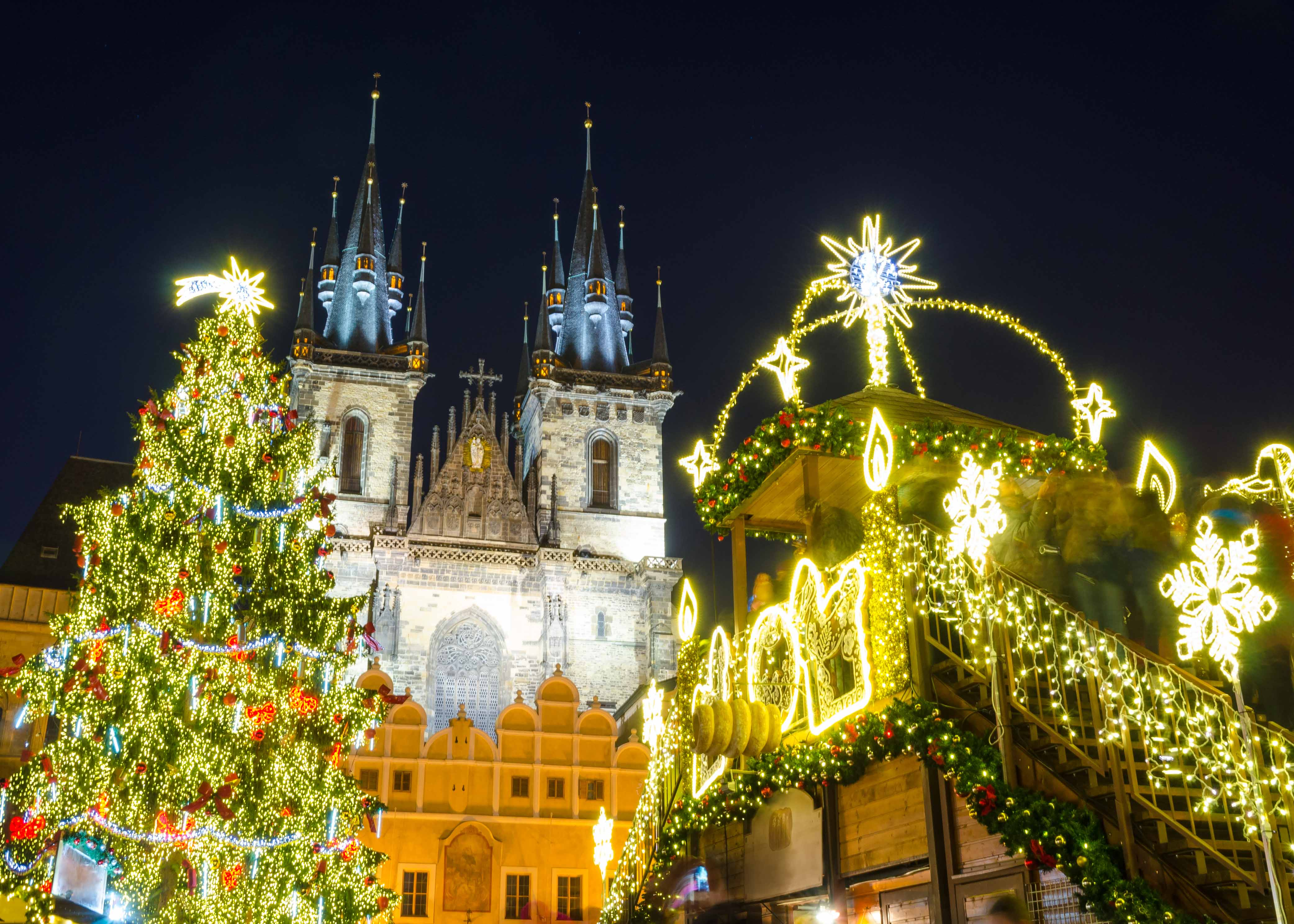Night time Christmas markets in Prague
