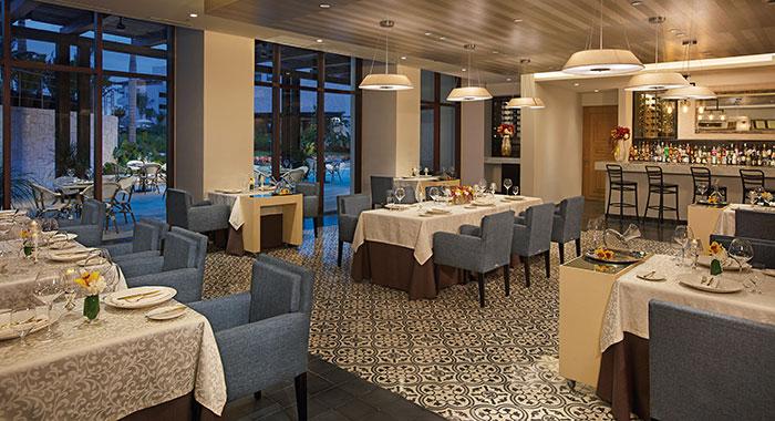 Formal dining restaurant in evening